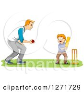 Happy Red Haired White Father Teaching His Son How To Play Cricket