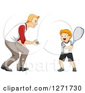 Clipart Of A Happy Red Haired White Father Teaching His Son How To Play Squash Royalty Free Vector Illustration