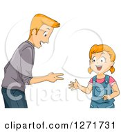 Clipart Of A Happy Red Haired White Father And Daughter Playing Rock Paper Scissors Royalty Free Vector Illustration