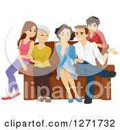 Clipart Of A Happy Caucasian Family Of Teenagers Parents And Grandparents Around A Sofa Royalty Free Vector Illustration by BNP Design Studio