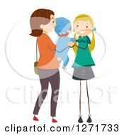 Clipart Of A Brunette White Stick Mother Handing Her Baby To A Female Babysitter Royalty Free Vector Illustration