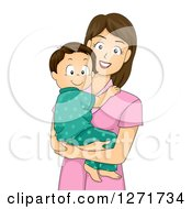 Clipart Of A Happy Brunette White Mother Holding Her Toddler Son In Pjs Royalty Free Vector Illustration