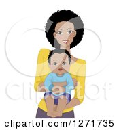 Clipart Of A Happy Black Mother Holding Her Baby Son Royalty Free Vector Illustration