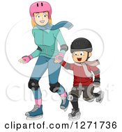 Clipart Of A Red Haired White Mother And Son Ice Skating Together Royalty Free Vector Illustration