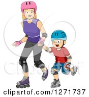 Clipart Of A Red Haired White Mother And Son Roller Blading Together Royalty Free Vector Illustration