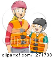 Clipart Of A Blond White Mother And Son In Helmets And Life Jackets Royalty Free Vector Illustration