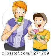 Clipart Of A Red Haired White Mother And Brunette Son Eating Popsicles Together Royalty Free Vector Illustration by BNP Design Studio