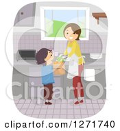 Clipart Of A Happy Brunette White Mom And Son With Groceries In A Kitchen Royalty Free Vector Illustration by BNP Design Studio