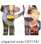Clipart Of A Happy Red Haired White Boy Watching His Mother And Teacher Shake Hands Royalty Free Vector Illustration by BNP Design Studio