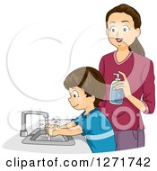 Clipart Of A Brunette White Mother Supervising Her Son As He Washes His Hands Royalty Free Vector Illustration