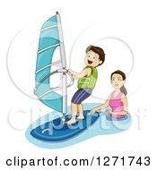 Clipart Of A Brunette White Mother Teaching Her Son How To Windsurf Royalty Free Vector Illustration