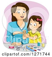 Clipart Of A Brunette White Mother And Daughter Making Jewelry Royalty Free Vector Illustration