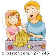 Clipart Of A Blond White Mother And Red Haired Daughter Sewing Royalty Free Vector Illustration