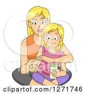 Clipart Of A Happy Blond White Mother Teaching Her Daughter About Skin Care Royalty Free Vector Illustration by BNP Design Studio