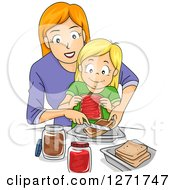 Red Haired White Mother Teaching Her Blond Daughter How To Make Peanut Butter And Jelly Sandwiches
