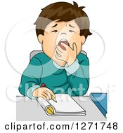 Clipart Of A Tired Brunette White School Boy Writing At His Desk Royalty Free Vector Illustration