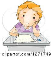 Clipart Of A Sad Red Haired White School Boy Taking A Test Royalty Free Vector Illustration