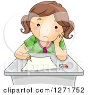 Clipart Of A Sad Brunette White School Girl Taking An Exam Royalty Free Vector Illustration