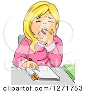 Clipart Of A Tired Blond White School Girl Yawning While Writing At Her Desk Royalty Free Vector Illustration
