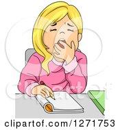 White School Girl Yawning Girl Yawn Clipart