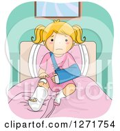 Clipart Of A Sad Blond White Girl With A Broken Leg And Arm Sitting On A Bed Royalty Free Vector Illustration