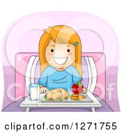 Clipart Of A Happy Red Haired White Girl With A Lunch Tray In A Hospital Bed Royalty Free Vector Illustration