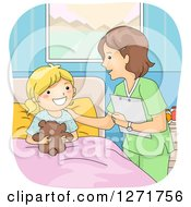 Clipart Of A Friendly White Female Nurse Tending To A Blond Hospital Patient Girl Royalty Free Vector Illustration