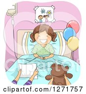 Clipart Of A Happy Brunete White Girl With Hospital Visitors Royalty Free Vector Illustration