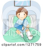 Clipart Of A Sad Brunette White Boy With A Sling And Cast In A Hospital Bed Royalty Free Vector Illustration