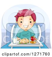 Clipart Of A Happy Purple Haired White Boy With A Meal In A Hospital Bed Royalty Free Vector Illustration