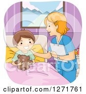 Clipart Of A Friendly Female White Nurse Talking To A Happy Hospital Patient Boy Royalty Free Vector Illustration