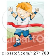 Clipart Of A Successful Red Haired White Boy Breaking Through A Winner Ribbon On A Race Track Royalty Free Vector Illustration by BNP Design Studio