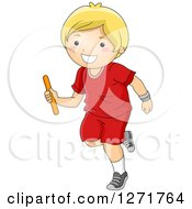 Clipart Of A Happy Blond White Boy Running With A Baton In A Relay Race Royalty Free Vector Illustration by BNP Design Studio