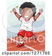 Clipart Of A Successful Black Boy Winning A Relay Race Royalty Free Vector Illustration by BNP Design Studio