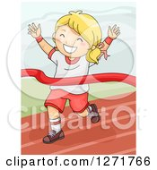 Clipart Of A Successful Blond Girl Breaking Through A Winner On A Track Royalty Free Vector Illustration