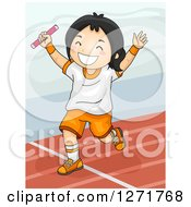 Clipart Of A Happy Asian Girl Winning A Baton Relay Race Royalty Free Vector Illustration by BNP Design Studio
