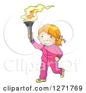 Clipart Of A Sporty Red Haired White Girl Running With A Torch Royalty Free Vector Illustration