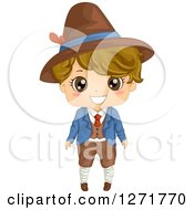 Clipart Of A Happy Italian Boy In Traditional Clothes Royalty Free Vector Illustration