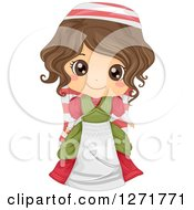 Clipart Of A Happy Italian Girl In Traditional Clothes Royalty Free Vector Illustration
