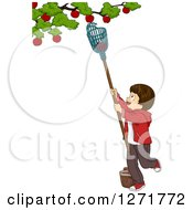 Clipart Of A Brunette White Boy Using A Fruit Picker To Remove Apples From A Tree Royalty Free Vector Illustration by BNP Design Studio