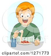 Clipart Of A Happy Red Haired White Boy Eating Spaghetti Royalty Free Vector Illustration by BNP Design Studio