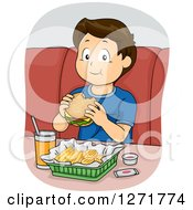 Clipart Of A Happy Blond Haired White Boy Eating A Cheeseburger And Fries Royalty Free Vector Illustration by BNP Design Studio