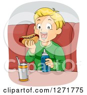 Clipart Of A Happy Blond Haired White Boy Eating A Hot Dog Royalty Free Vector Illustration
