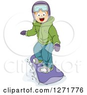 Clipart Of A Happy White Boy Snowboarding Royalty Free Vector Illustration