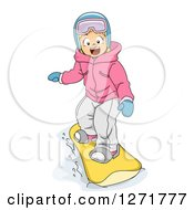 Clipart Of A Happy Blond White Girl Snowboarding Royalty Free Vector Illustration