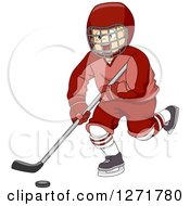 Clipart Of A Blond White Ice Hockey Player Boy In Action Royalty Free Vector Illustration by BNP Design Studio