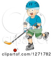 Clipart Of A Happy White Boy Playing Roller Hockey Royalty Free Vector Illustration by BNP Design Studio