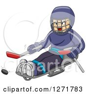 Clipart Of A Disabled Blond White Boy Playing Sledge Hockey Royalty Free Vector Illustration by BNP Design Studio