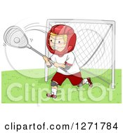 Clipart Of A Blond White Lacrosse Goalie Player In Action Royalty Free Vector Illustration by BNP Design Studio