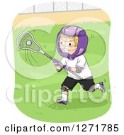 Clipart Of A Blond White Lacrosse Player In Action Royalty Free Vector Illustration by BNP Design Studio